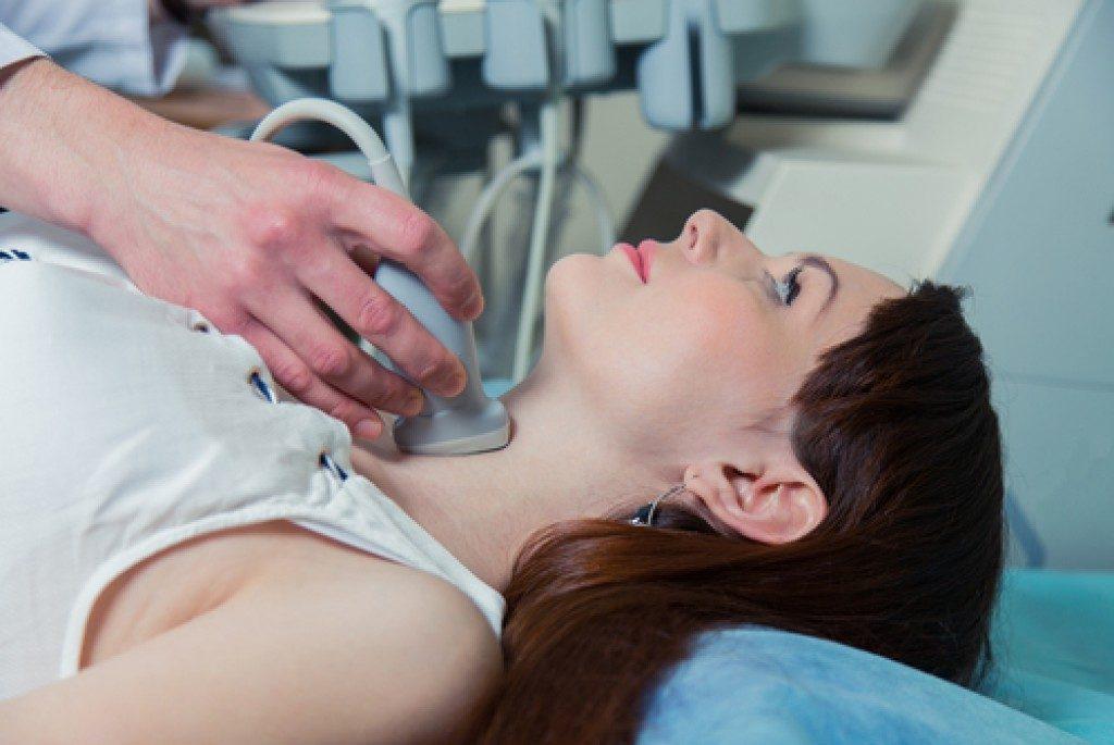 Woman undergoing a thyroid ultrasound