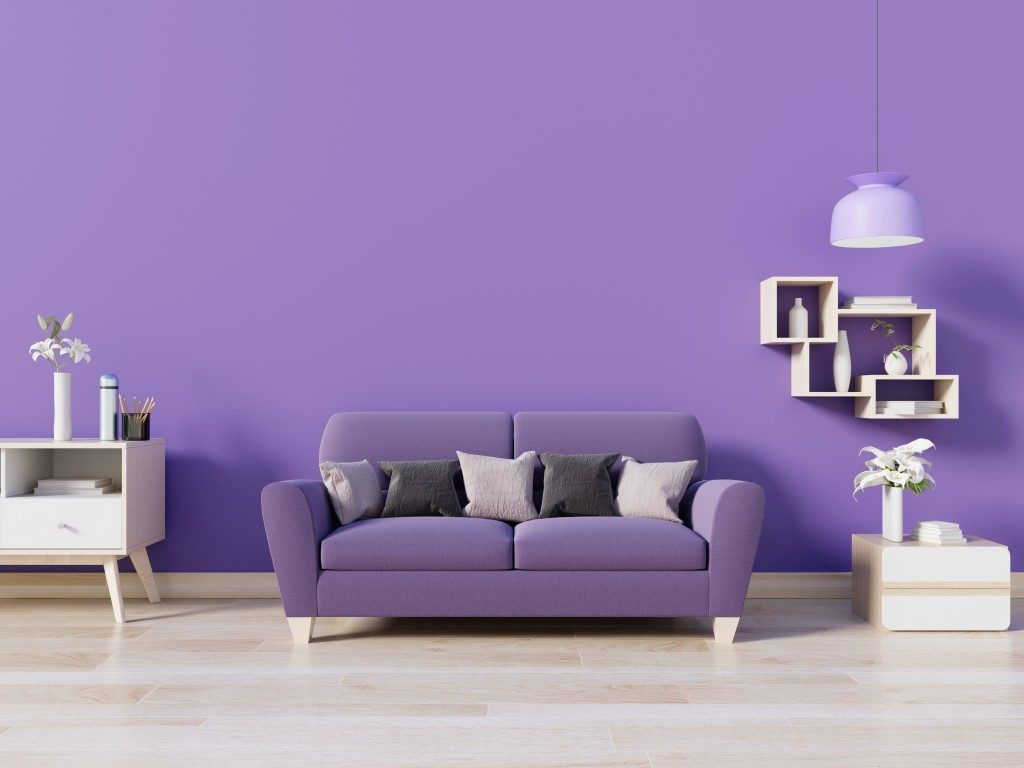 purple sofa in a purple living room