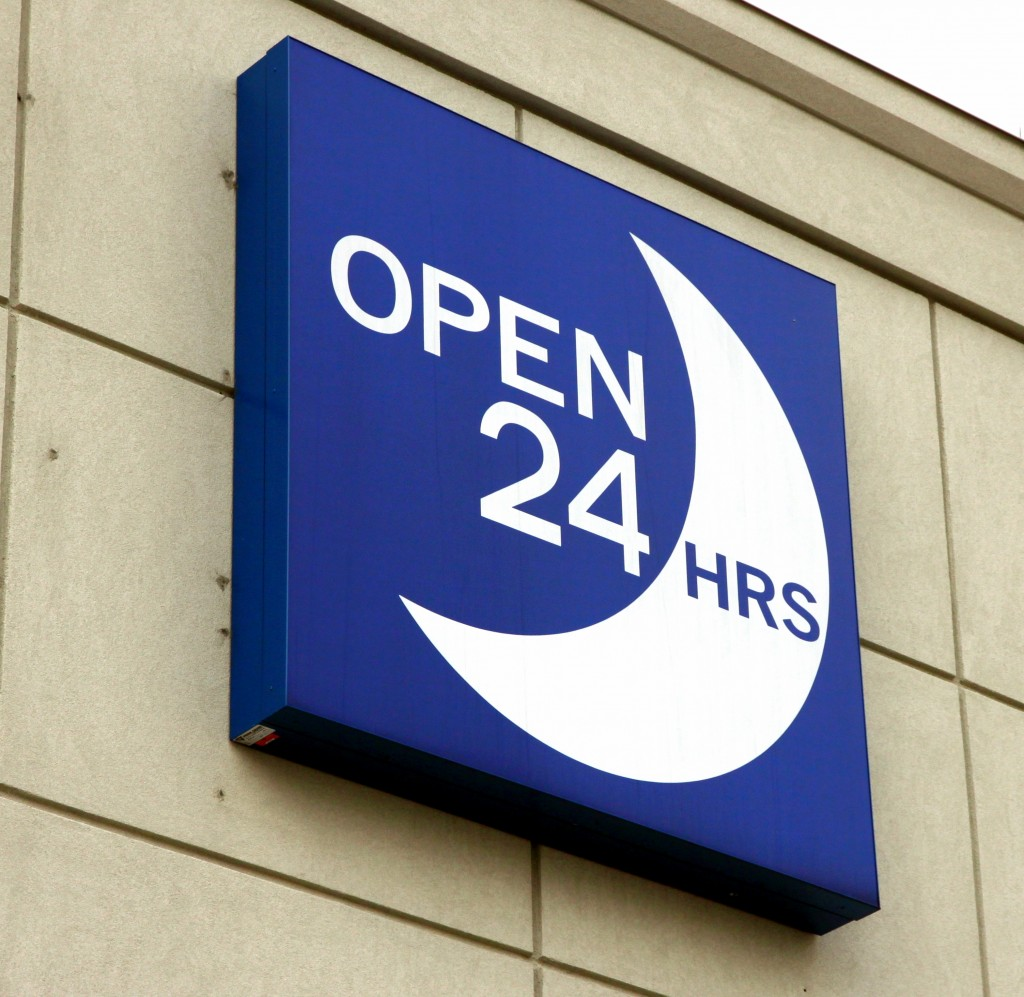 open 24 hour store sign