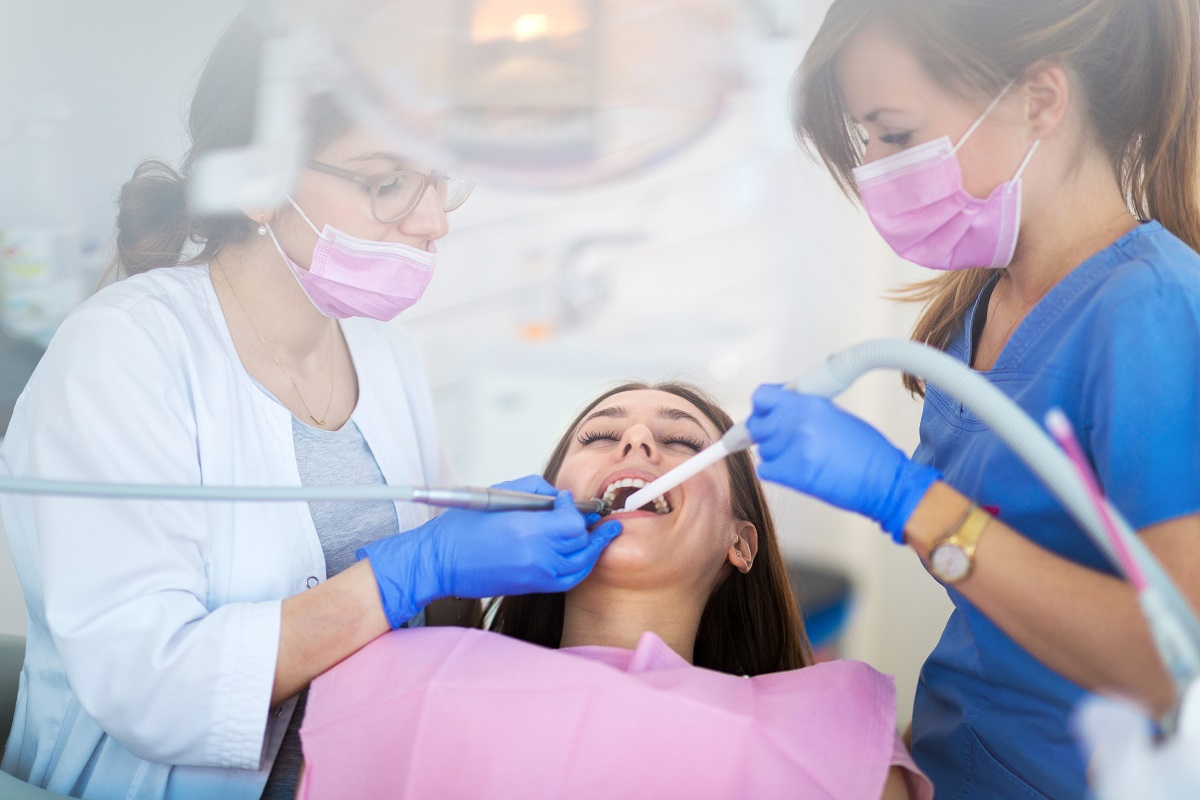 woman geeting a dental surgery