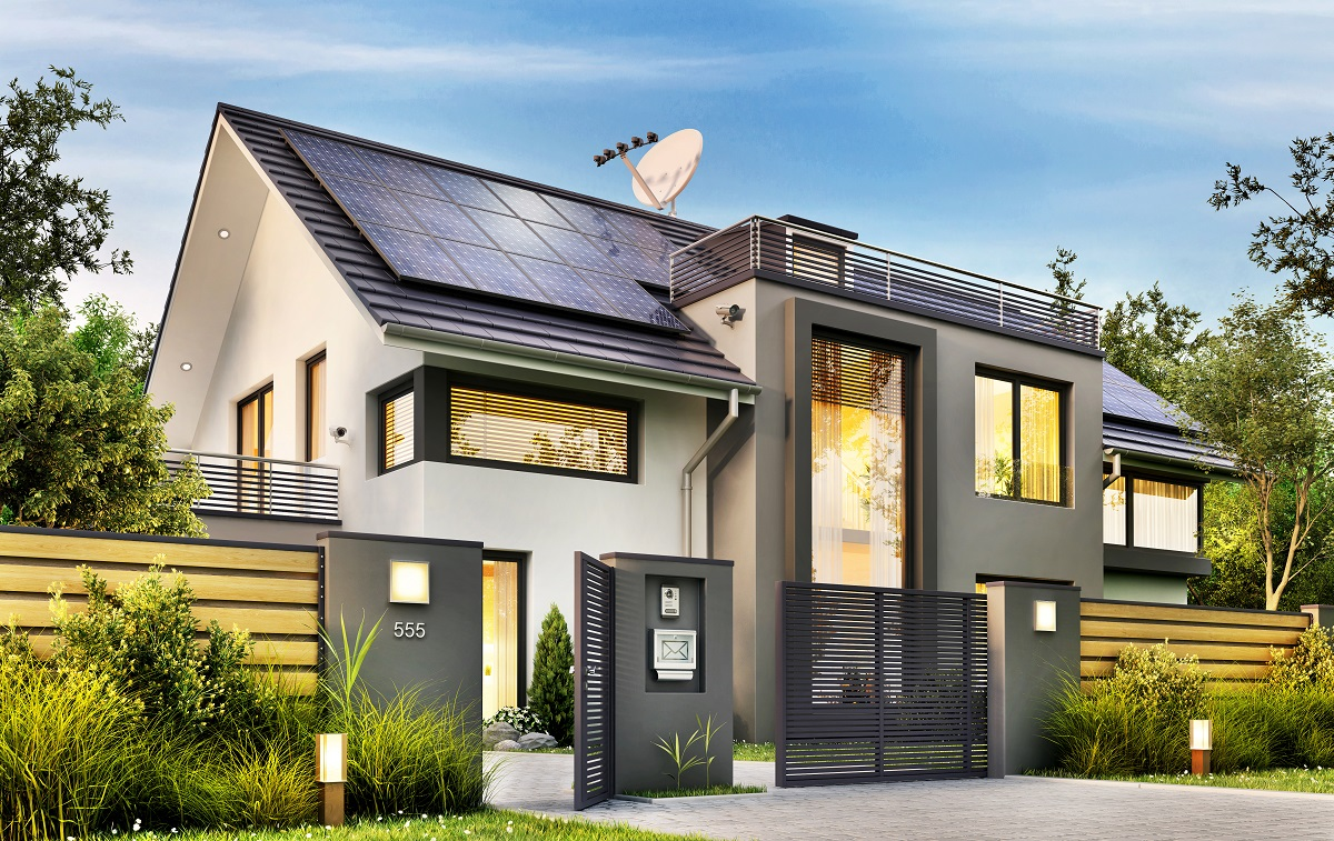 modern home with solar panels